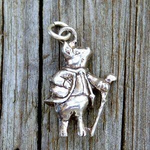 Vintage 925 3D Pig In Jacket w/ Cane Charm Pendant